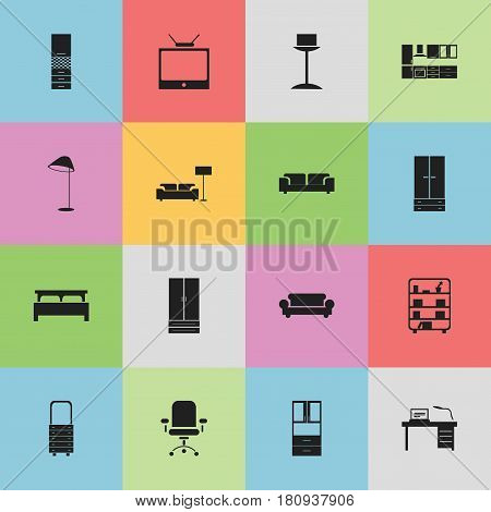 Set Of 16 Editable Furnishings Icons. Includes Symbols Such As Television, Ergonomic Seat, Material Cupboard And More. Can Be Used For Web, Mobile, UI And Infographic Design.