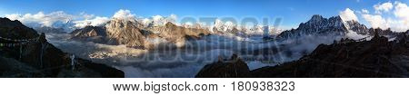 Evening panoramic view of Mount Everest Lhotse Makalu and Cho Oyu from Gokyo Ri - Khumbu valley sagarmatha national park - Nepal