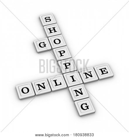 Go Online Shopping crossword puzzle. E-commerce concept. 3D illustration isolated on white background.