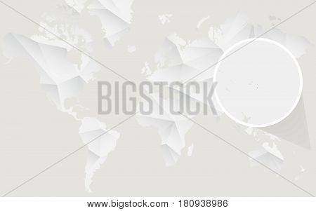Tonga Map With Flag In Contour On White Polygonal World Map.
