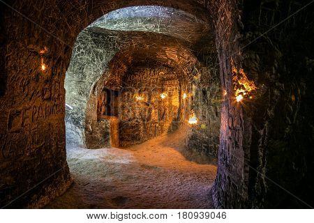 Abandoned chalky underground cave monastery, underground church in Kalach, Voronezh region