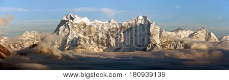 Evening panoramic view of mounts Kangtega and Thamserku fromm Gokyo Ri Everest area Khumbu valley Nepal
