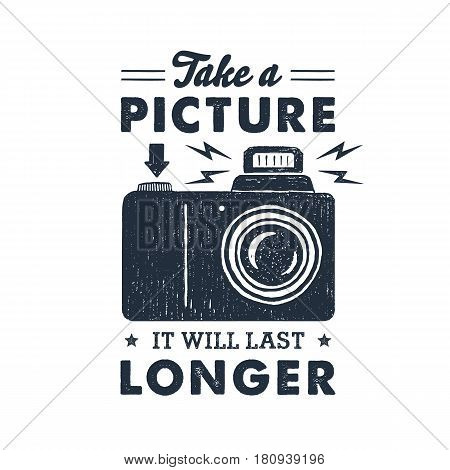 Hand drawn party label with photo camera textured vector illustration and