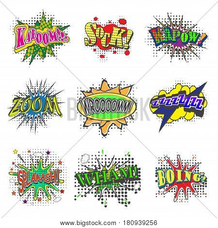 Set of bubbles speech, oops expression and speak onomatopoeia, crash and bang cloud, pow sound and cool comic exclamation, bomb pow sound. Dialogue and humour, communicate theme, vector illustration.
