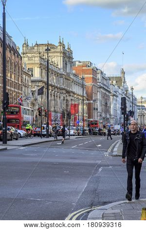 LONDON, GREAT BRITAIN - MAY 9, 2014: Piccadilly Street is one of the widest and lively streets in the historic city center - Westminster.