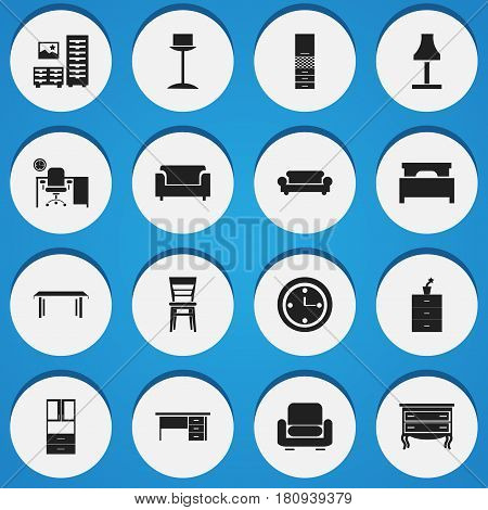 Set Of 16 Editable Furnishings Icons. Includes Symbols Such As Commode, Couch, Trestle And More. Can Be Used For Web, Mobile, UI And Infographic Design.
