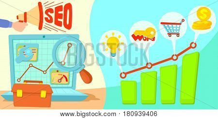 SEO horizontal banner concept. Cartoon illustration of SEO vector horizontal banner for web