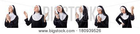 Pretty nun isolated on white