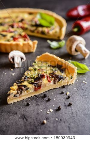 Quiche With Mushrooms, Bell Pepper, Bacon And Green Onion
