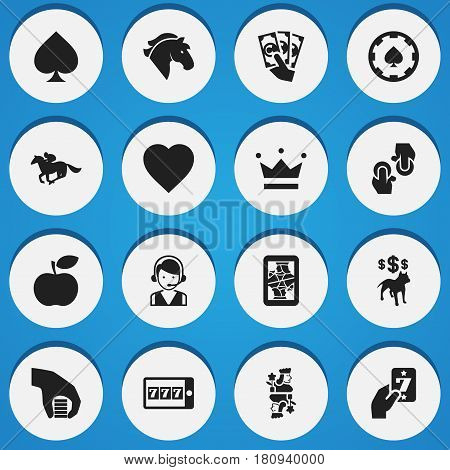 Set Of 16 Editable Gambling Icons. Includes Symbols Such As Phone Game, Gambling, Coronet And More. Can Be Used For Web, Mobile, UI And Infographic Design.