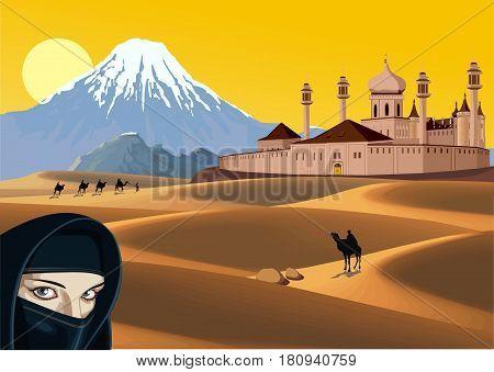 Landscape - castle in the sandy desert. Arab woman. Caravan in the desert. Mountain range on the horizon. Vector illustration