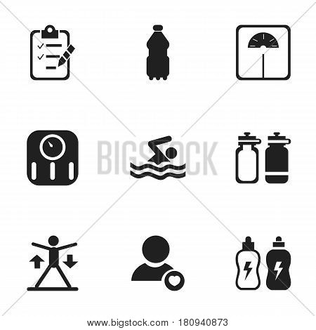 Set Of 9 Editable Training Icons. Includes Symbols Such As Questionnaire, Weight Measurement, Fitness Drink And More. Can Be Used For Web, Mobile, UI And Infographic Design.