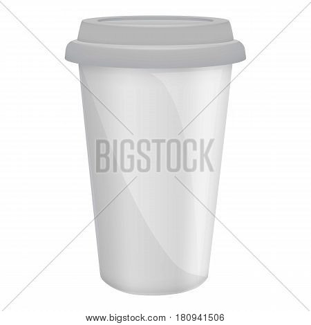 Paper coffee cup with lid mockup. Realistic illustration of paper coffee cup with lid vector mockup for web