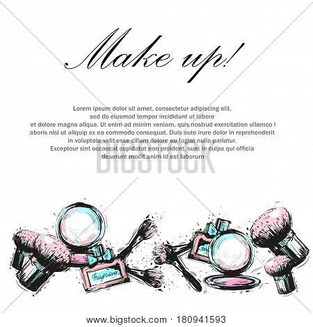 Decorative cosmetic, makeup, beauty salon stylist vector design template.
