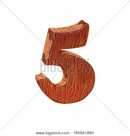 Wooden textured cartoon bold font number 5. Number on white background.
