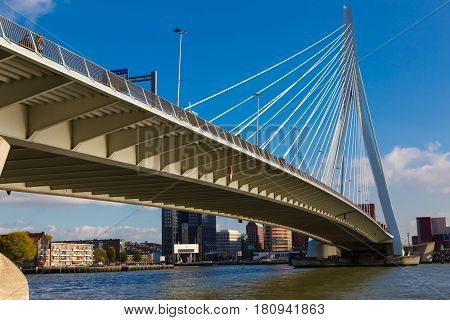 Erasmus bridge close-up on background of blue sky. Bottom view . Rotterdam. The Netherlands