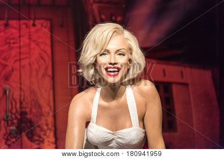 ISTANBUL, TURKEY - MARCH 16, 2017: Marilyn Monroe  wax figure at Madame Tussauds  museum in Istanbul. Norma Jean Morterson (Marilyn Monroe) was an American actress and model.