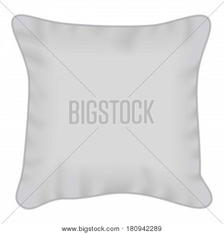 White square pillow mockup. Realistic illustration of white square pillow vector mockup for web