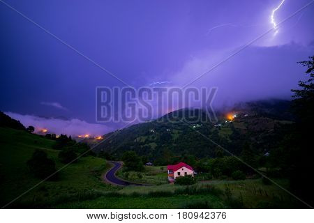 Thunder Lightning On A Small Village And Forest