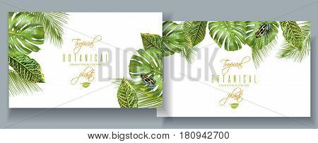 Vector tropical horizontal banners with monstera, croton leaves and little frog. Exotic design for cosmetics, spa, perfume, health care products. Can be used as wedding or summer background