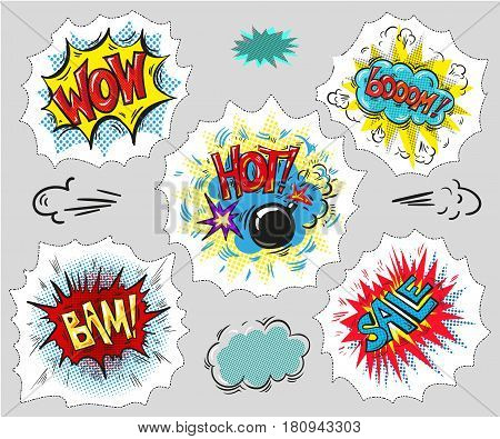 Set of Comic Text, Pop Art style. Hand drawn stock vector art