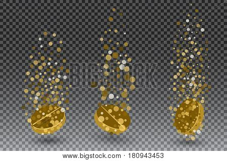 Soluble drug with fizzy trace isolated on checkered background, vector illustration. Vitamin in water effervescent , three dissolving tablets.