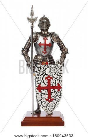 Toy medieval knight isolated on white background