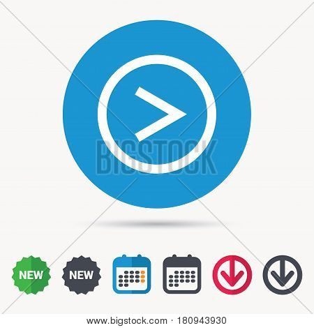 Arrow icon. Next navigation symbol. Calendar, download arrow and new tag signs. Colored flat web icons. Vector