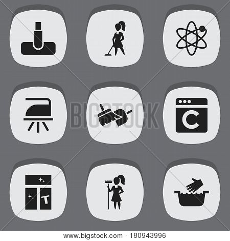 Set Of 9 Editable Dry-Cleaning Icons. Includes Symbols Such As Washing Glass, Flatiron, Hoover And More. Can Be Used For Web, Mobile, UI And Infographic Design.