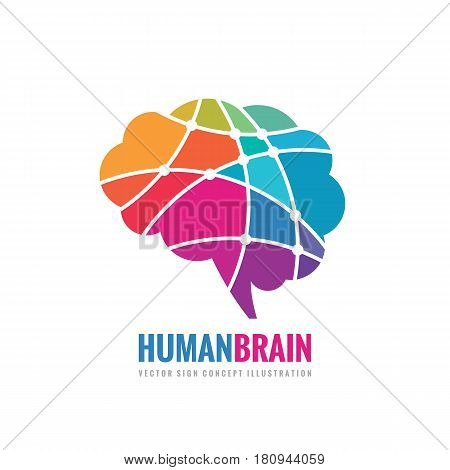 Human Brain - business vector logo template concept illustration. Abstract creative idea sign. Design element.