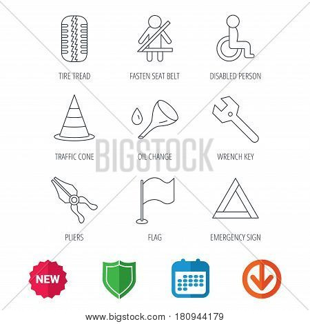 Tire tread, traffic cone and wrench key icons. Emergency triangle, flag and pliers linear signs. Disabled person icons. New tag, shield and calendar web icons. Download arrow. Vector
