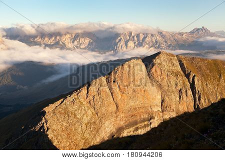 Morning view from Col di Lana to Gruppo Puez South Tirol dolomites mountains Italy