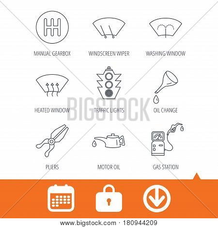 Motor oil change, traffic lights and pliers icons. Gas station, heated window and manual gearbox linear signs. Washing window icons. Download arrow, locker and calendar web icons. Vector