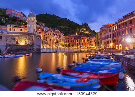 Vernazza in Cinque Terre - Italy - architecture background