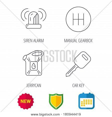 Manual gearbox, jerrycan and car key icons. Siren alarm, fuel jerrycan linear signs. Shield protection, calendar and new tag web icons. Vector