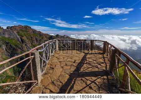 Viewpoint Pico do Arierio and Pico Ruivo - Madeira Portugal - travel background