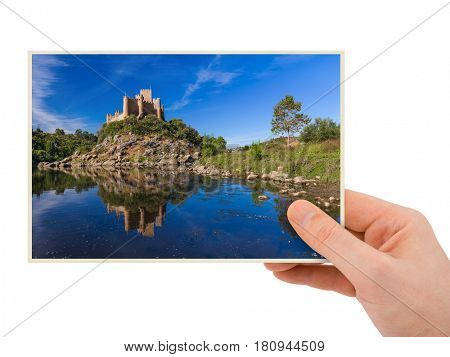 Hand and Almourol castle - Portugal (my photo) isolated on white background