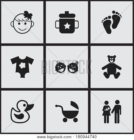Set Of 9 Editable Child Icons. Includes Symbols Such As Small Dresses, Bath Toys, Twins Babies And More. Can Be Used For Web, Mobile, UI And Infographic Design.