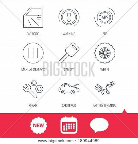 Car key, repair tools and manual gearbox icons. Wheel, warning ABS and battery terminal linear signs. New tag, speech bubble and calendar web icons. Vector