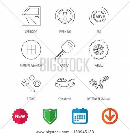 Car key, repair tools and manual gearbox icons. Wheel, warning ABS and battery terminal linear signs. New tag, shield and calendar web icons. Download arrow. Vector