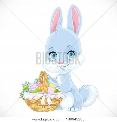 Cute Easter baby Bunny with a basket of eggs isolated on a white background