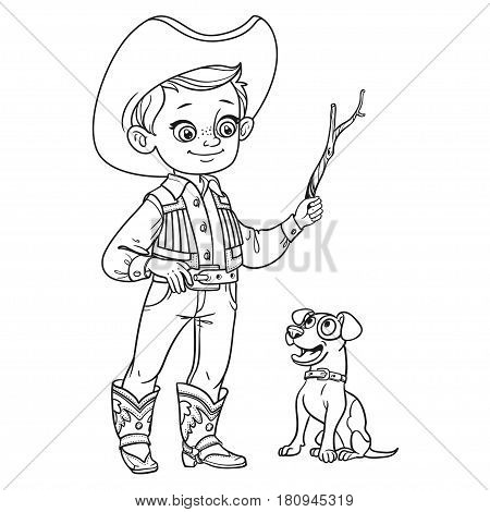 Cute Boy In Cowboy Costume Play With Dog Outlined Isolated On A White Background