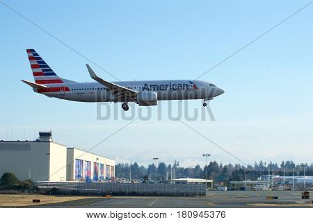 EVERETT, WASHINGTON, USA - JAN 26th, 2017: A brand new American Airlines Boeing 737-800 Next Gen MSN 31258, Registration N309PC returns from a successful test flight, landing at Snohomish County Airport or Paine Field.