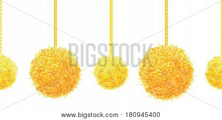 Vector Golden Yellow Decorative Pompoms Big and Small Set With Ropes Horizontal Seamless Repeat Border Pattern. Great for handmade cards, invitations, wallpaper, packaging, nursery designs. Surface pattern design.
