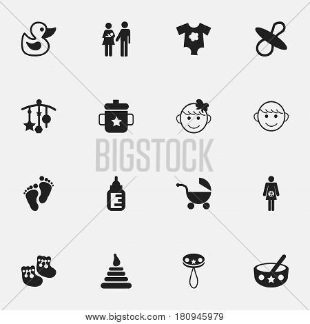 Set Of 16 Editable Baby Icons. Includes Symbols Such As Merry Children, Footmark, Small Dresses And More. Can Be Used For Web, Mobile, UI And Infographic Design.