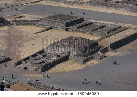 Teotihuacan, Mexico, circa february 2017: View from the pyramid of the sun in Archeological site Teotihuacan, Mexico