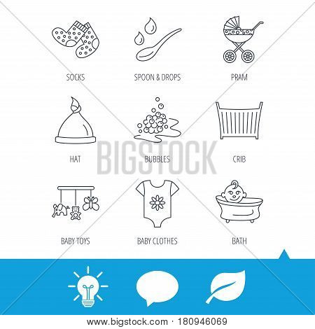 Baby clothes, bath and hat icons. Pram carriage, spoon with drops linear signs. Socks, baby toys and bubbles flat line icons. Light bulb, speech bubble and leaf web icons. Vector