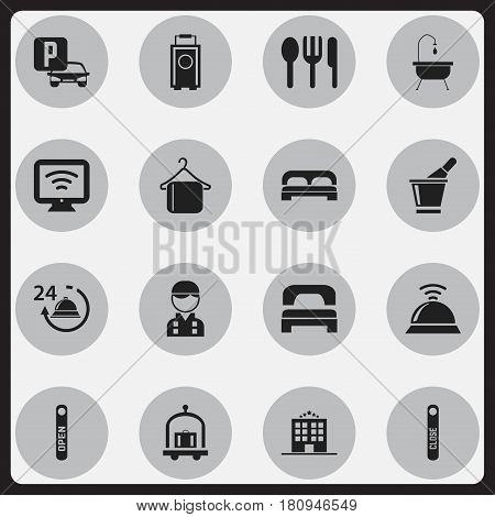 Set Of 16 Editable Hotel Icons. Includes Symbols Such As Hotel Trolley, Baggage, Service Bell And More. Can Be Used For Web, Mobile, UI And Infographic Design.