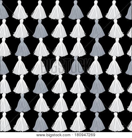 Vector Black, White and Grey Decorative Tassels Rows Seamless Repeat Pattern Background. Great for handmade cards, invitations, wallpaper, packaging, nursery designs. Surface pattern design.