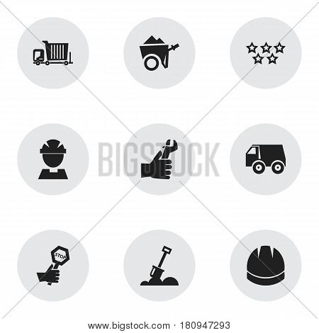 Set Of 9 Editable Structure Icons. Includes Symbols Such As Oar , Worker, Handcart. Can Be Used For Web, Mobile, UI And Infographic Design.